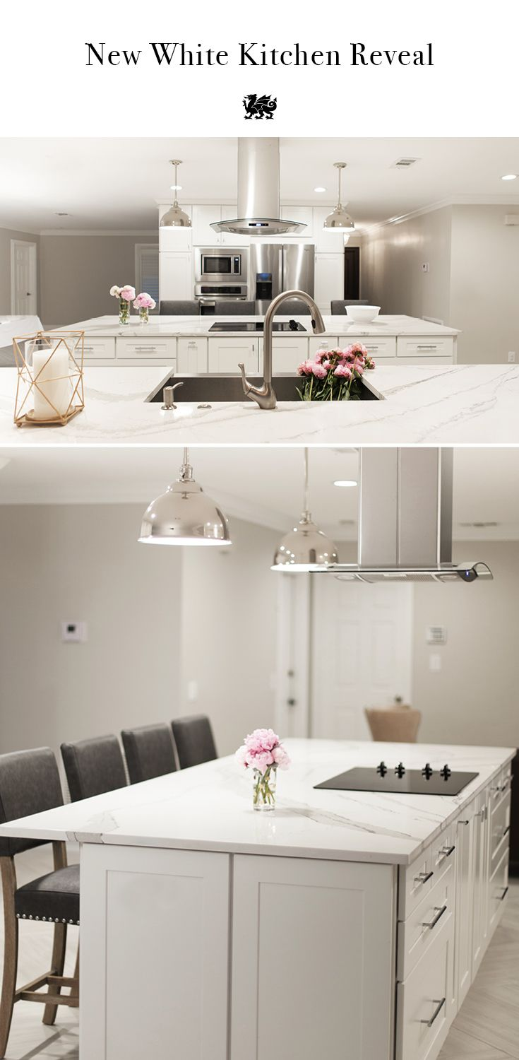 kitchen island ideas shaker kitchen island Jess of the Celebration Stylist blog shares a stunning white kitchen renovation reveal with inspiring