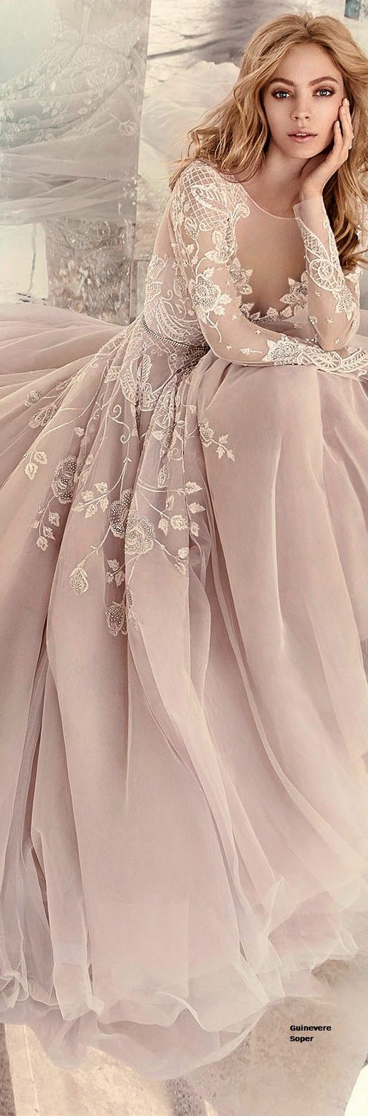 pinks fuchsia wedding dress Dusty pink silk chiffon embroidered with antique lace