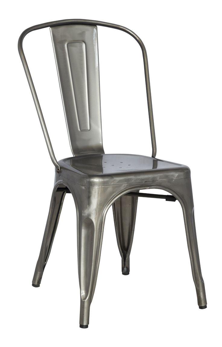 kitchen chairs gun metal amazon kitchen chairs Chintaly Imports Galvanized Steel Side Chair with Set of 4 Gun Metal