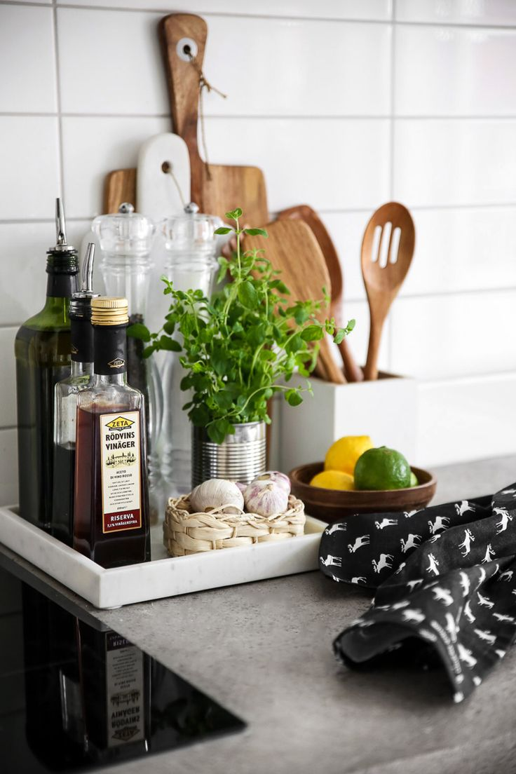apartment kitchen kitchen countertop options Trays are a great way to contain clutter on counters and keep everyday cooking essentials