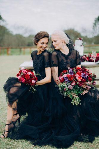 black weddings black wedding dresses Black Tie and Berry Toned Styled Shoot on a Cuddly Animal Farm