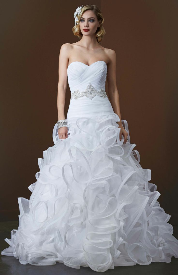 galina signature wedding gowns galina wedding dresses Galina Signature Ball Gown with Embellished Waist and Ruffled Skirt Style SWG davidsbridal blacktiewedding