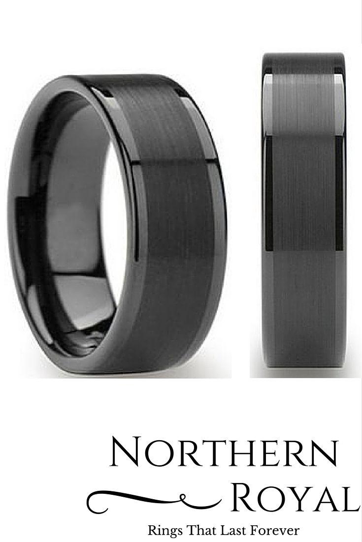 tungsten wedding bands tungsten wedding rings Mens 8mm Black Tungsten Wedding Ring with a Brushed Center