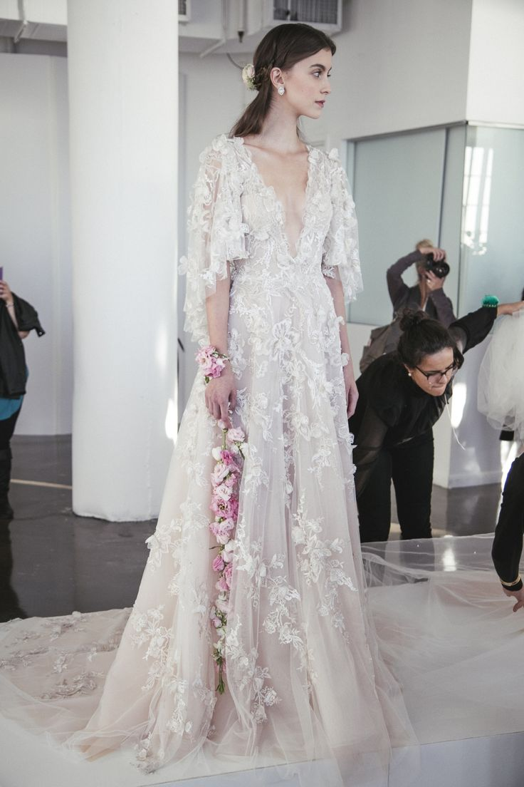 marchesa wedding dress marchesa wedding dress Ethereal Gowns Backstage Marchesa Fall Bridal Photo The LANE