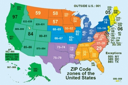 united states zip code map | there are about 43,000 zip