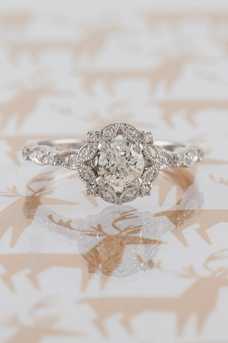 engagement rings round pretty wedding rings Round Halo Vintage Diamond Engagement Ring