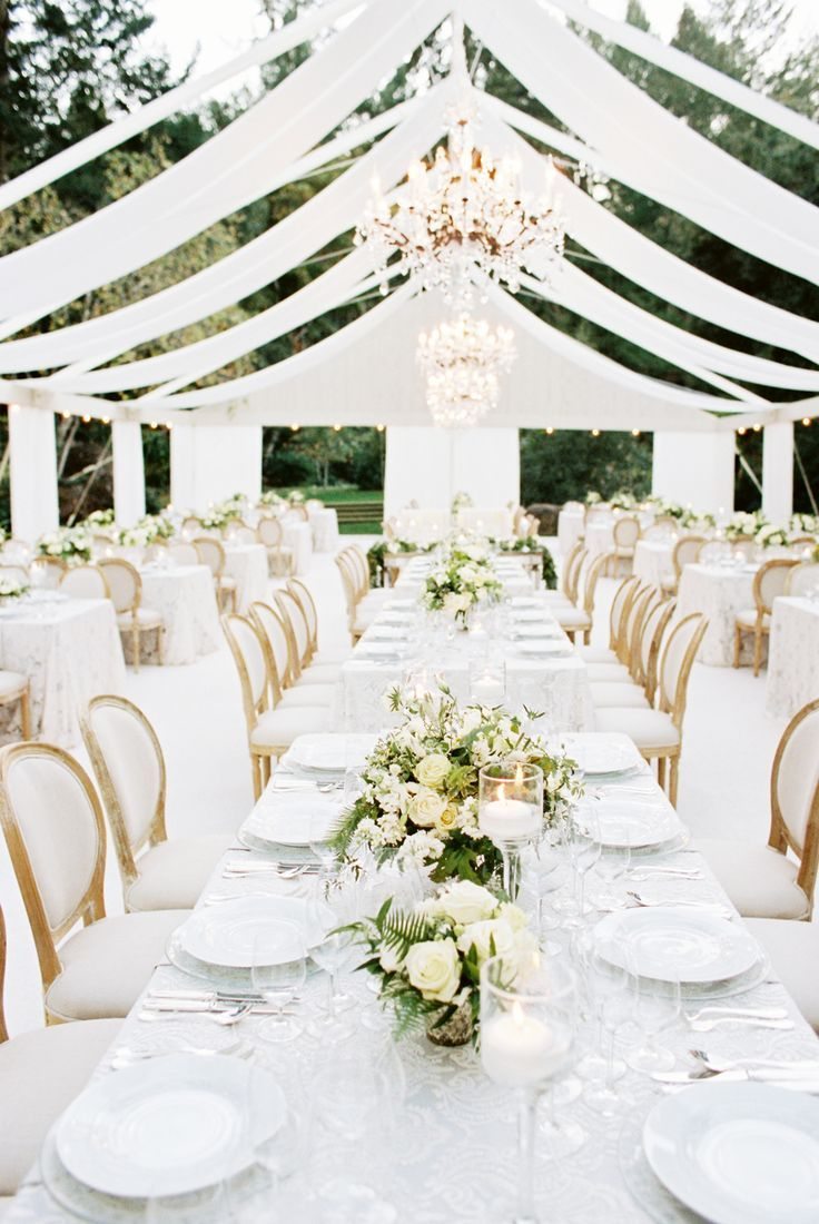 white wedding linens wedding linens Almost all white wedding decor at this modern wedding at meadowood in Napa Valley from a