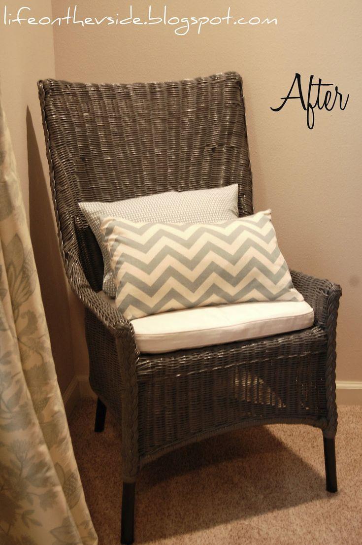 spray paint wicker wicker kitchen chairs Wicker Chair Makeover RustOleum Granite Minwax Dark Walnut on the legs