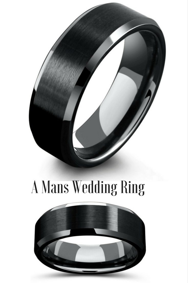 tungsten wedding rings wedding bands men 8mm Mens Black Tungsten Wedding Ring With Matte Center