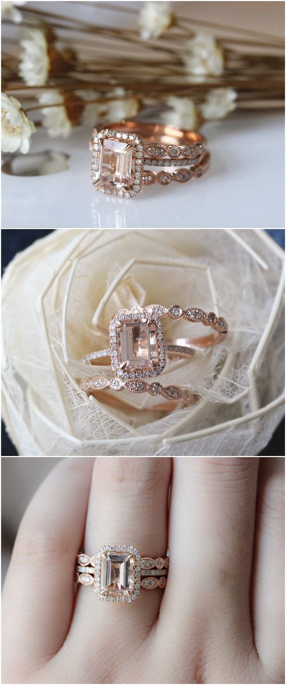 emerald cut wedding band emerald cut wedding bands 20 Rose Gold Engagement Rings That Will Leave You Speechless
