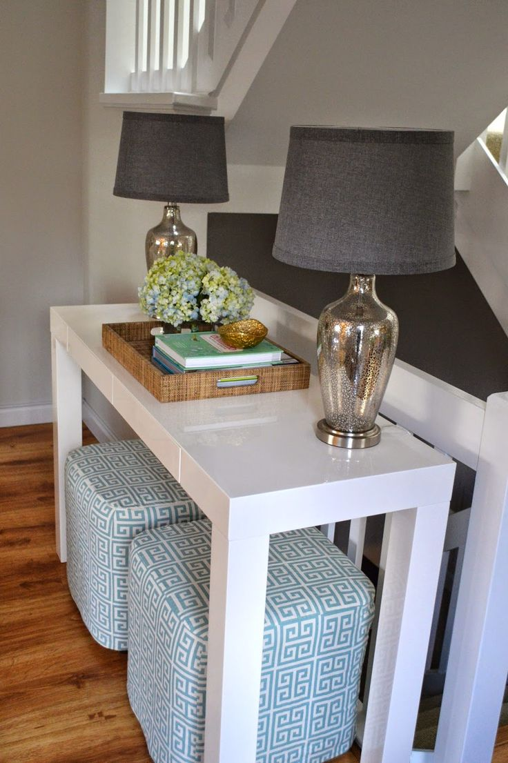 white console table kitchen console table Living space designed by Summerland Homes and Gardens A white parsons console table from West