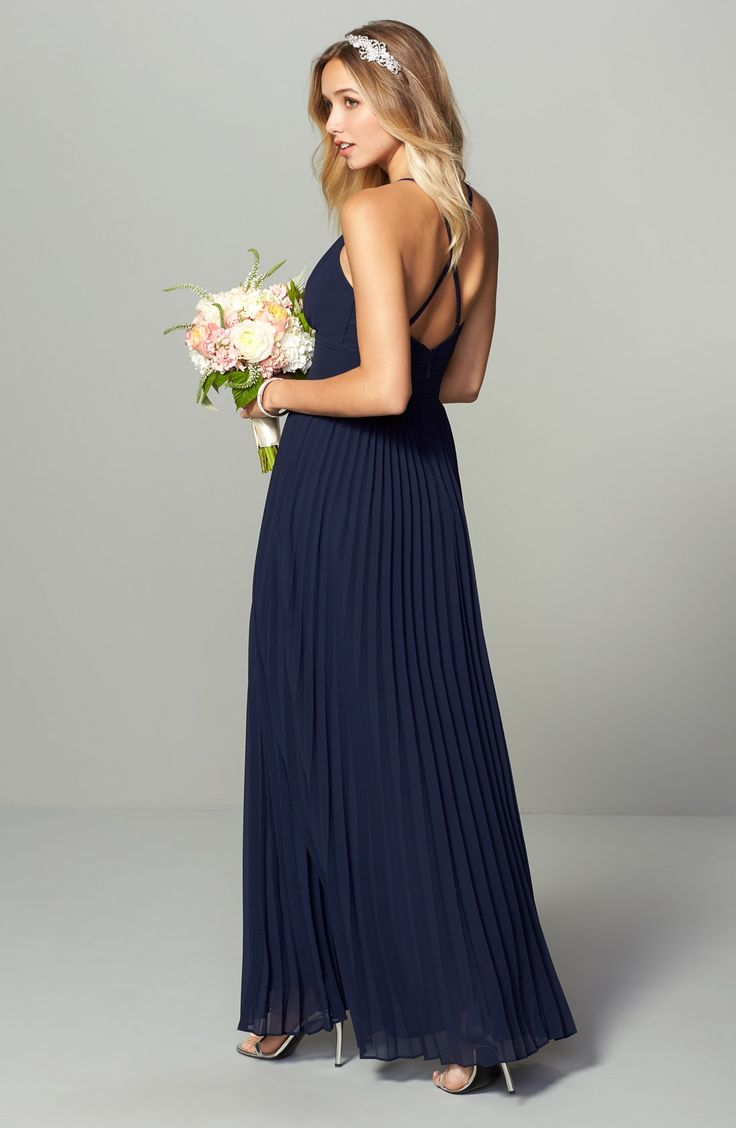 navy blue bridesmaid dresses navy dresses for weddings Bridesmaid dresses in navy blue Lulu s Plunging V Neck Pleat Georgette Gown