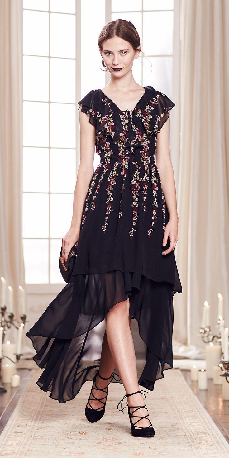 lc lauren conrad kohls wedding dresses Flutter sleeves A flared hem Floral embroidery This festive little black dress is