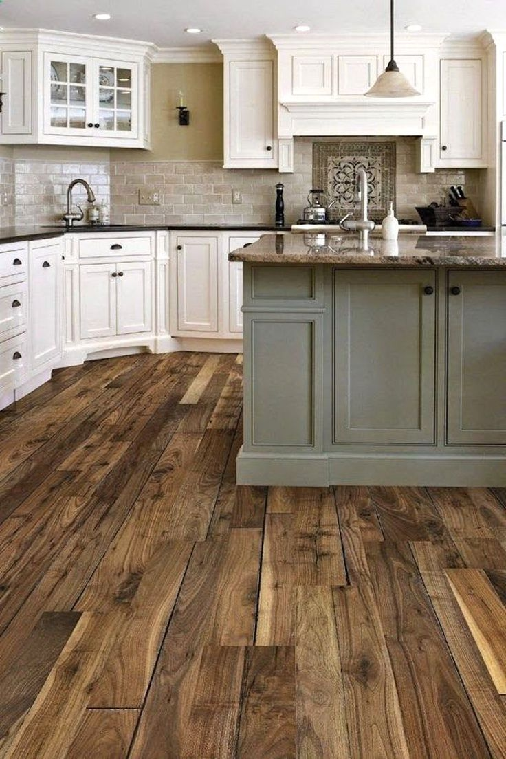 rustic wood floors wood floor kitchen That floor Pinterest Pinners picked this kitchen as their favorite Pinners all want