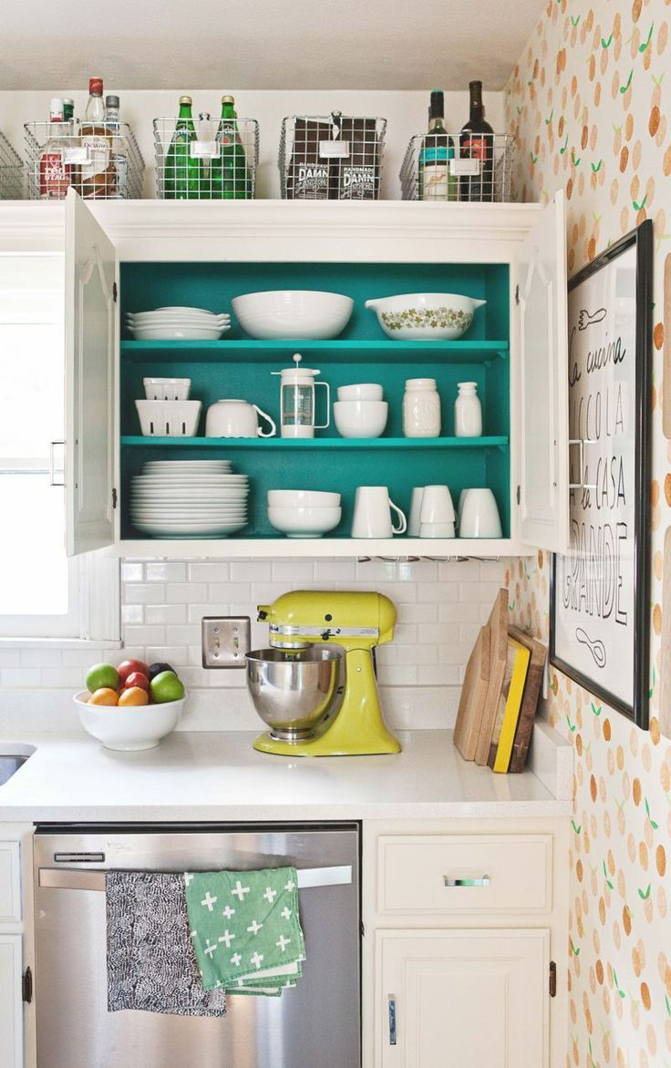 fabulous kitchens and bathroomsmostly using chalk turquoise kitchen cabinets Love the idea of painting the inside of cabinets