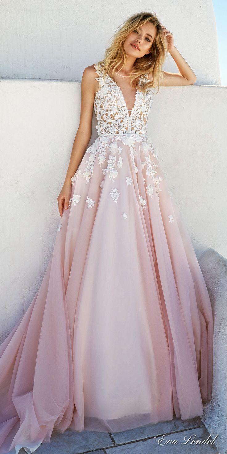 blush wedding dresses blush colored wedding dresses Eva Lendel Wedding Dresses Santorini Bridal Campaign Blush Colored