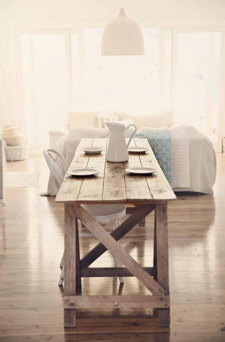 beach cottage coastal kitchens beachy kitchen table Beach Cottage Farmhouse Table for Coastal Vintage Style