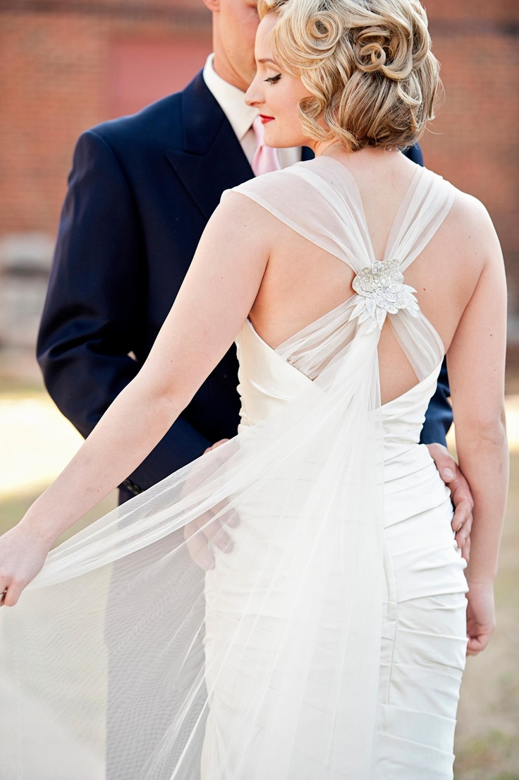 art deco chic wedding galina wedding dresses We are obsessed with the vintage feel of Real Bride Katie H s bridal look Her retro hairstyle complements her Galina Signature gown perfectly
