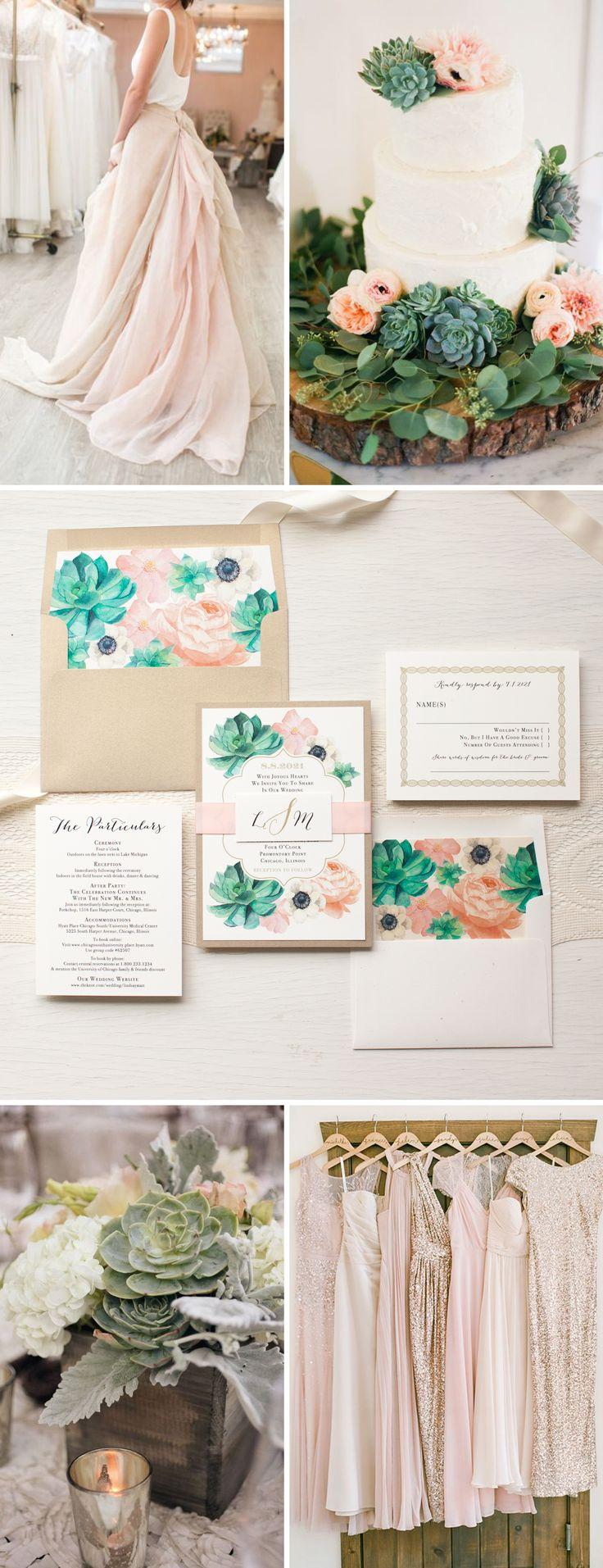 succulent wedding invitations succulent wedding invitations Blush Succulent Anemone Wedding Invitations