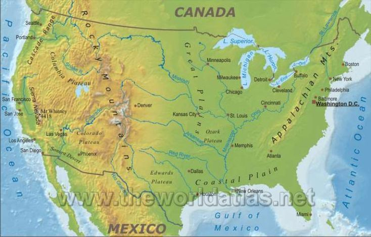Denvor On Us Map - Us map with rivers lakes and mountains