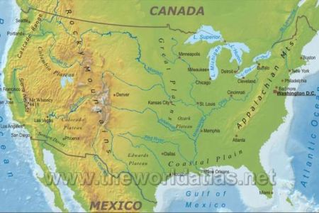 map of us lakes rivers mountains | geographical map of