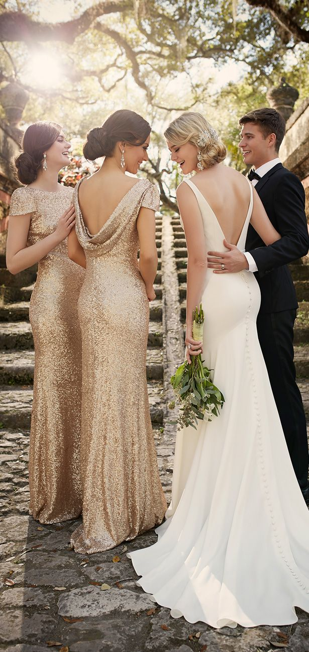 wedding blush pink gold ivory gold dress for wedding Wedding dress by Essense of Australia Spring Bridal Collection