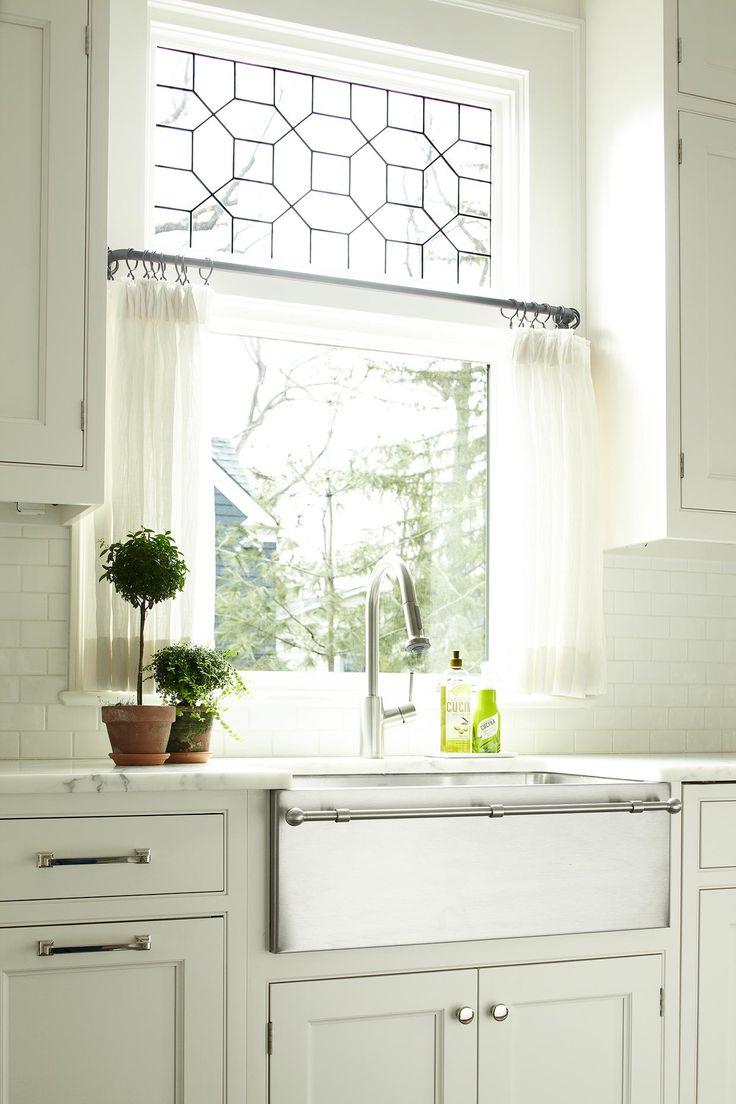 kitchen window curtains kitchen window treatment ideas Heidi Piron Design and Cabinetry Transitional 25 window treatment