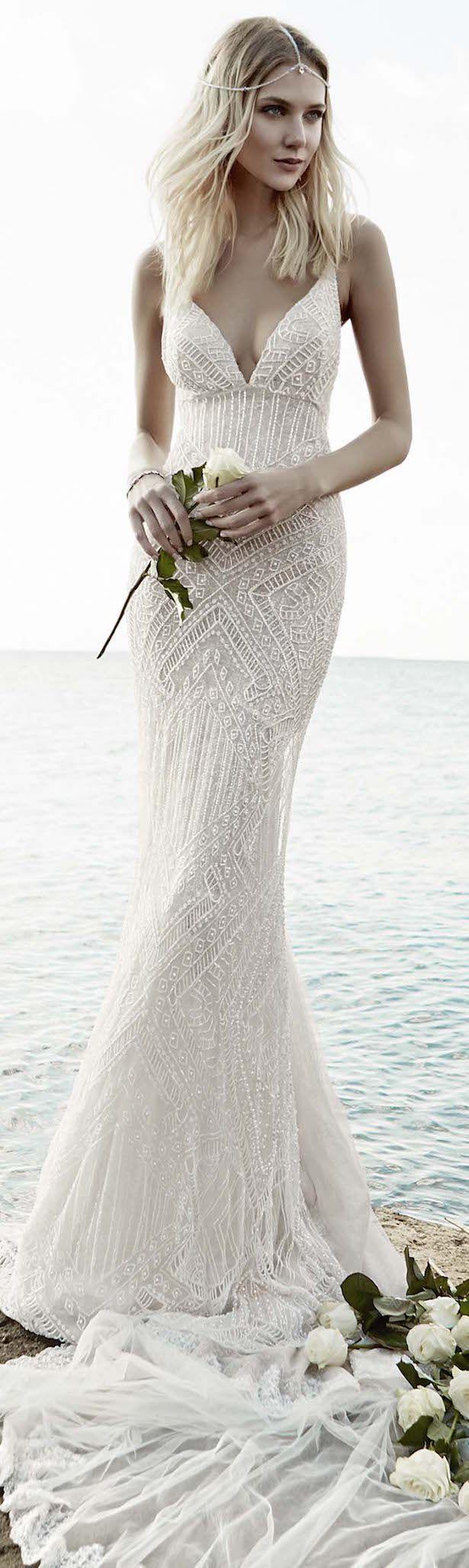 bohemian beach wedding beach dresses for wedding Victoria KyriaKides Bridal Fall Floral Constellations Vintage Lace Wedding DressesBeach