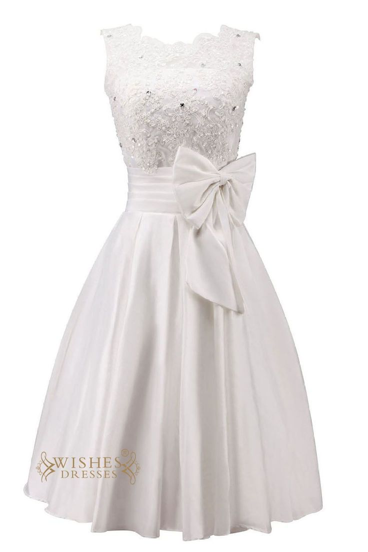 wedding dresses reception wedding dresses Pretty Applique and Bowknot Short Wedding Dress Reception Bridal Gown Engagement Dress Am46