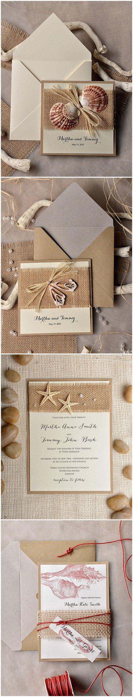 beach invitations beach wedding invitations TOP 30 Chic Rustic Wedding Invitations from 4lovepolkadots