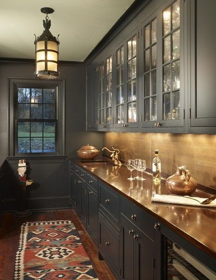 Gray cabinets with copper counter top. beautiful butler's pantry: