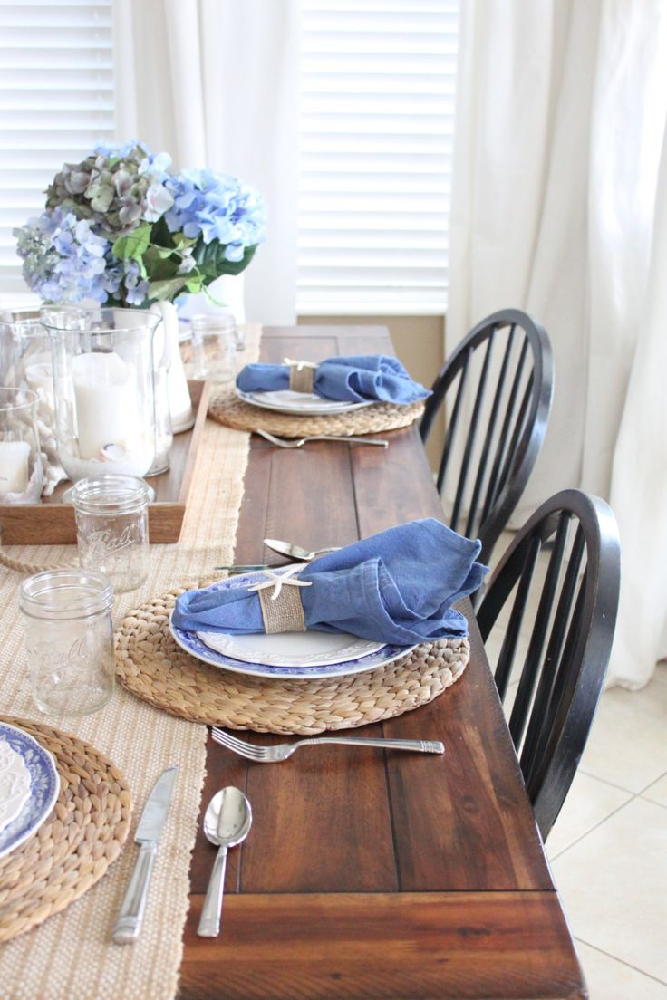white kitchen table set white kitchen tables White and Blue Coastal Table Starfish Cottage