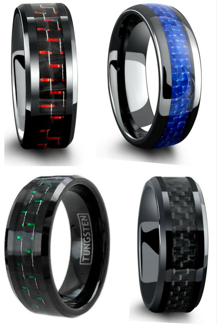 unique mens wedding bands flexible wedding ring Mens wedding rings All have genuine carbon fiber inlays going through the center of the