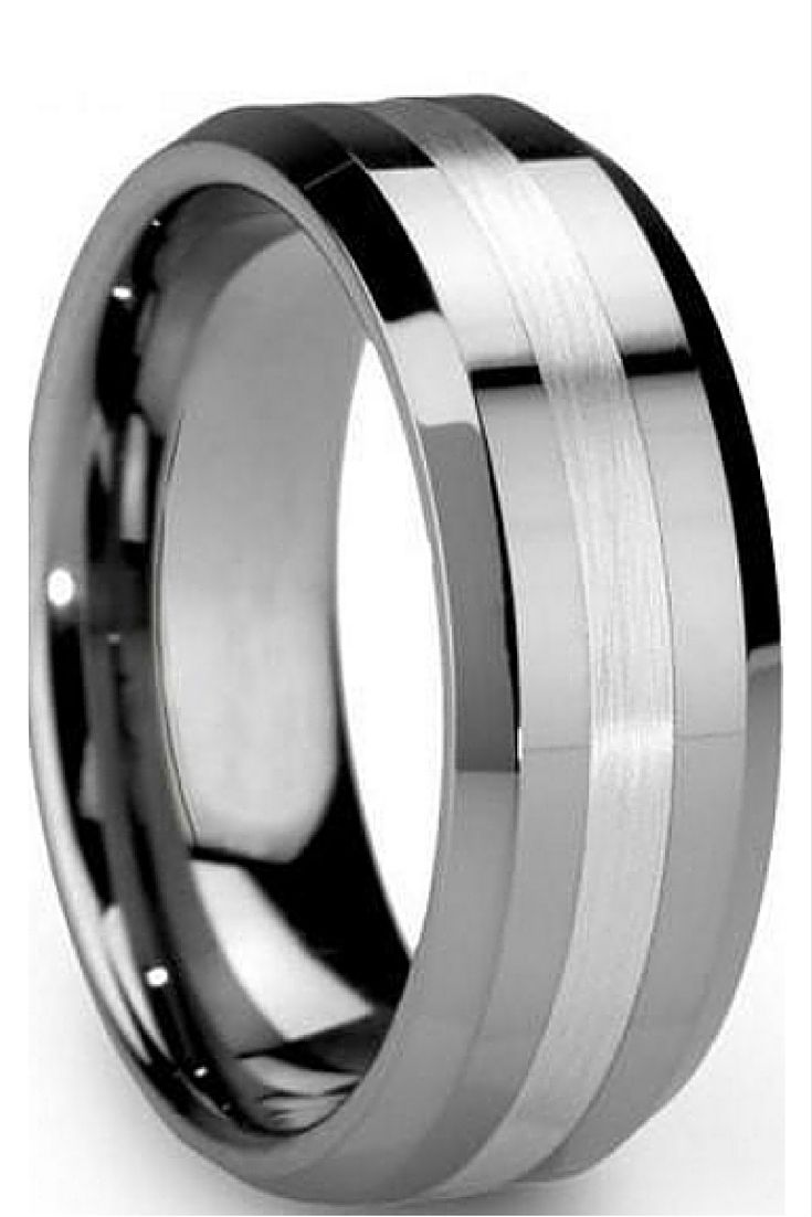 mens silver wedding bands wedding bands for him 8mm Hybrid Tungsten Carbide Wedding Band With Satin Center Stripe