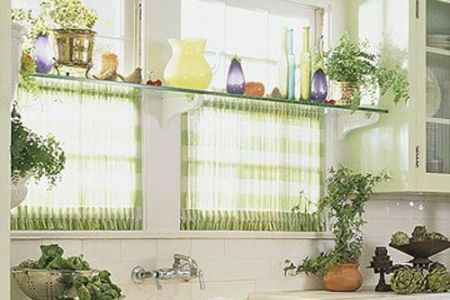 gl shelf over windows, for plants. sheer curtains match