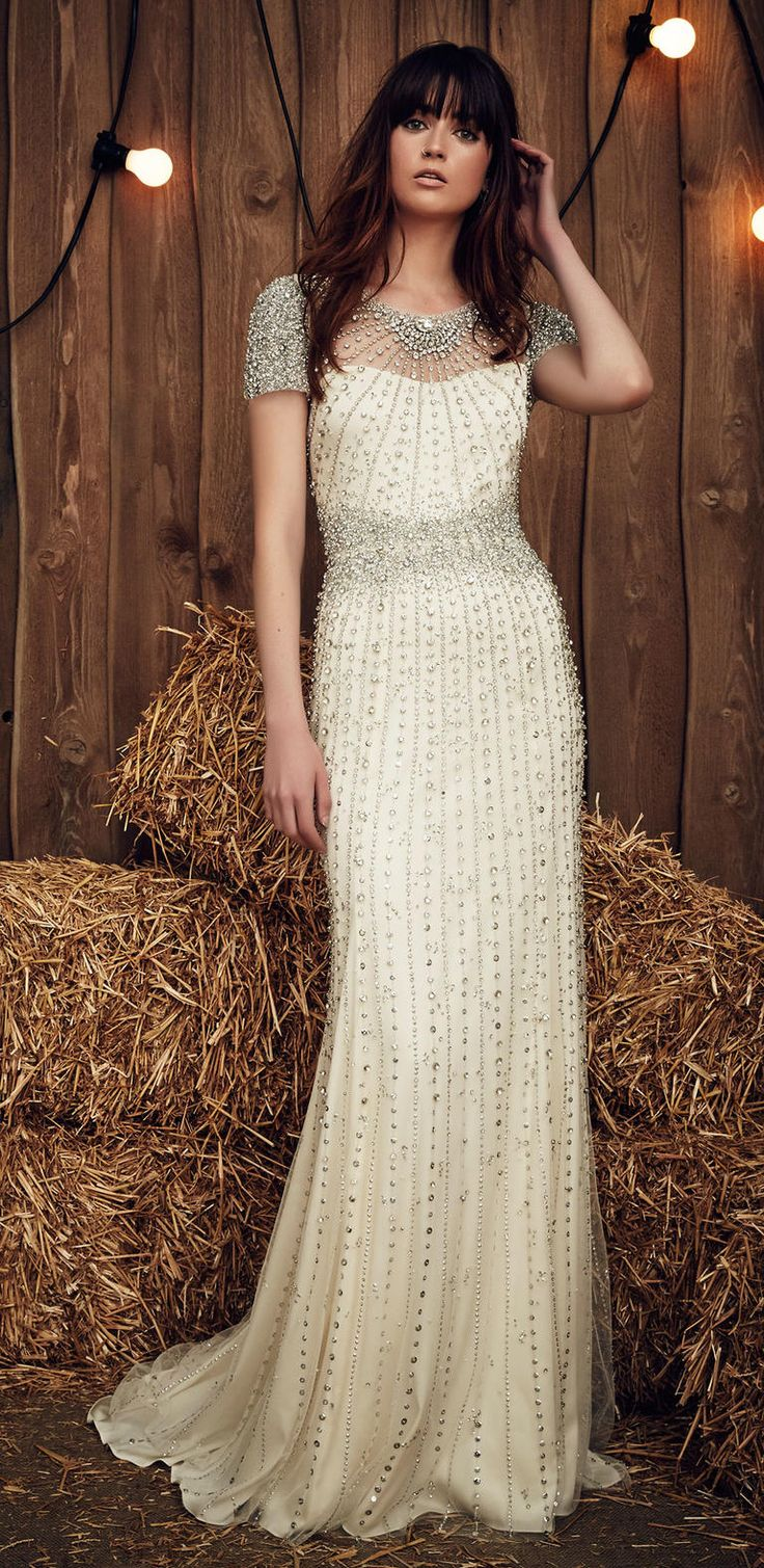 gypsy wedding dresses wedding dress com Celadon Green Hits the Runway at Jenny Packham s Gypsy Inspired Spring Show Beaded Wedding DressesWedding
