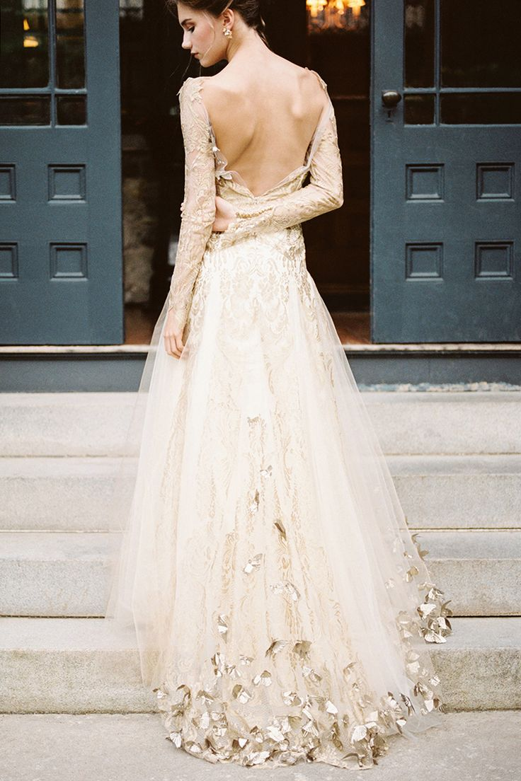 well dressed gold dress for wedding Open back wedding dress with embroidered leaves on hem of train