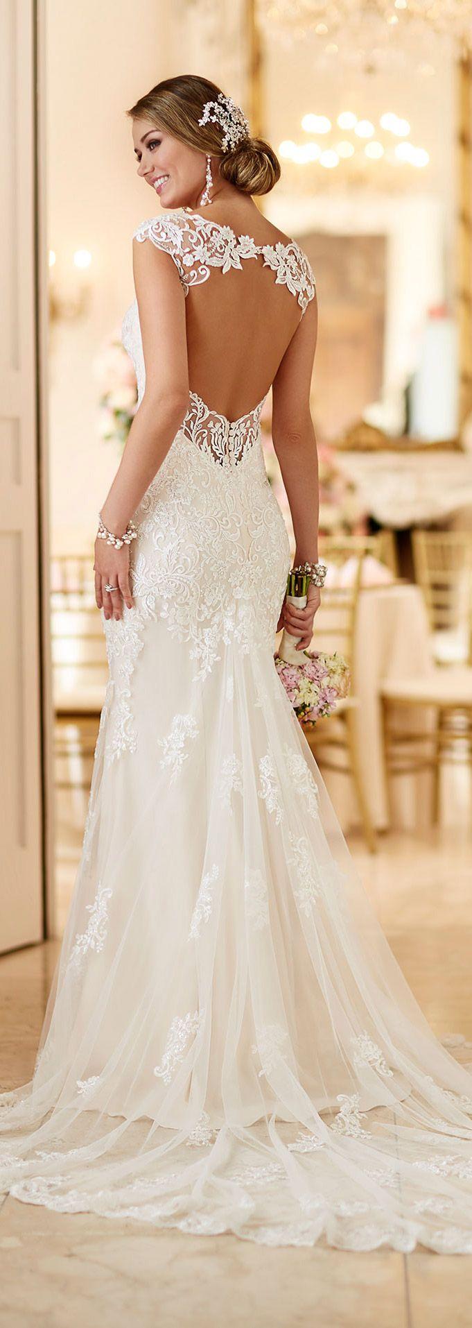 wedding dress romance lace flowy wedding dress Stella York open back lace wedding dresses