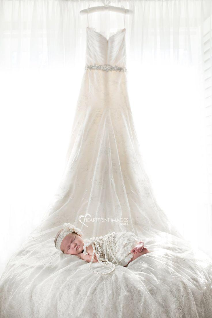 baby wedding dresses Newborn baby girl with Mom s wedding dress Heartprint Images Orange County California custom maternity and newborn photography Pinterest Wedding