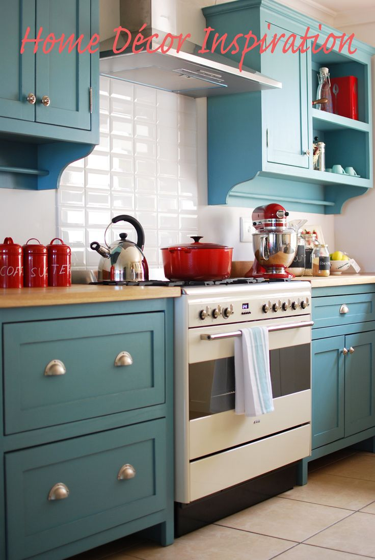 turquoise kitchen cabinets turquoise kitchen cabinets Base cabinets with butcher block but with white wall cabinets instead
