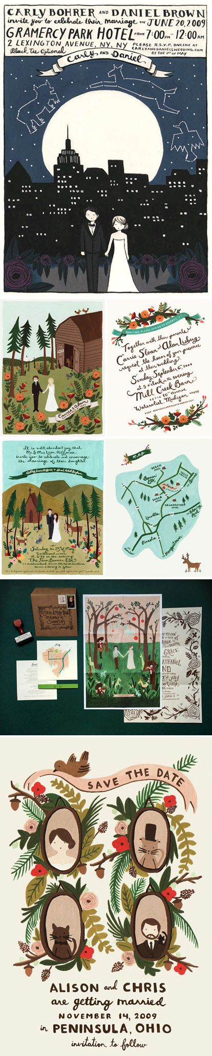 custom wedding invitations customizable wedding invitations Custom illustrated wedding invitations and save the dates by Anna Bond of Rifle Paper Company