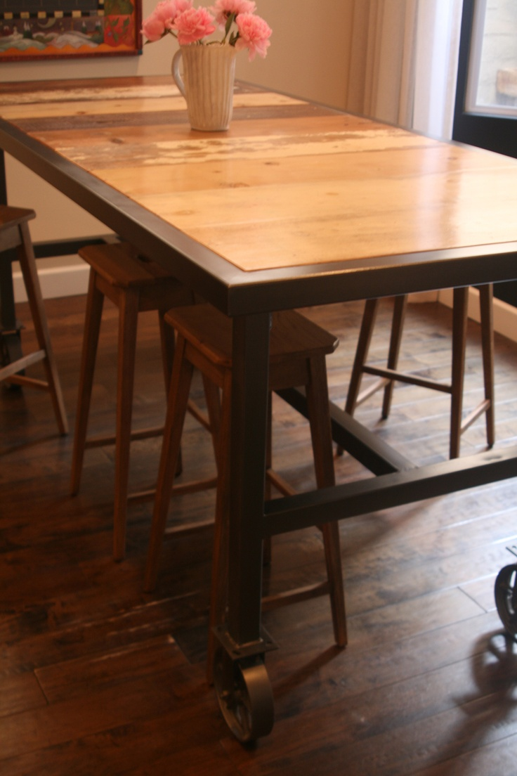 bar height dining table bar height kitchen table Bar Height Dining Table on 6 Caster Wheels with Reclaimed Wood Surface Seats 10