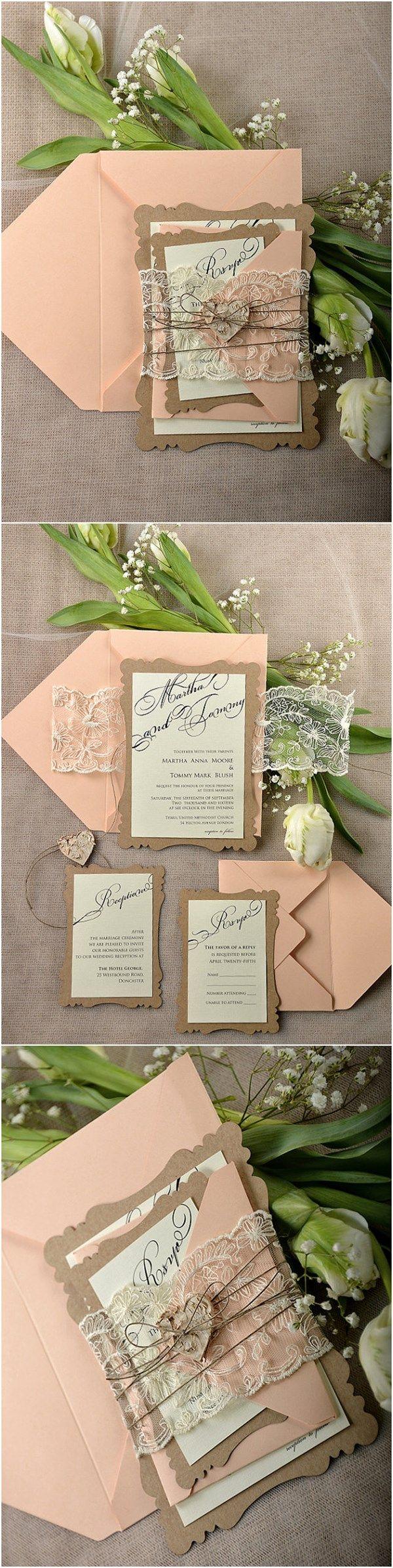 rustic wedding invitations rustic wedding invitation Rustic Eco Peach Lace Laser Cut Wedding Invitation Kits