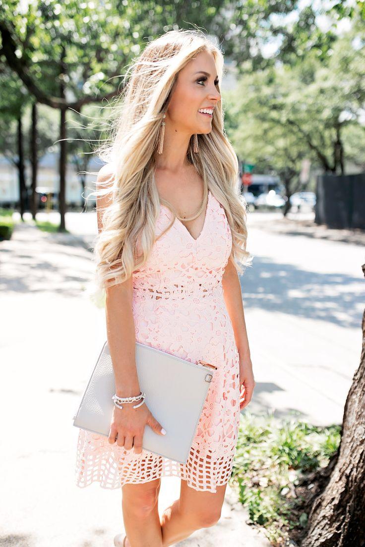 wedding guest outfit inspiration wedding guest dress Summer Wedding Guest Dress Blush Pink Laser Cut Lace Dress