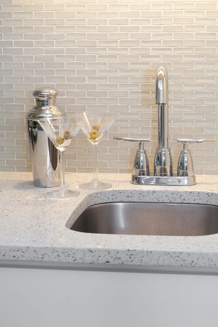 geos photos glass kitchen countertops Great little bar in GEOS Recycled Glass Surface in Ocean Shell Coastal BathroomsRecycled GlassCountertopsKitchen