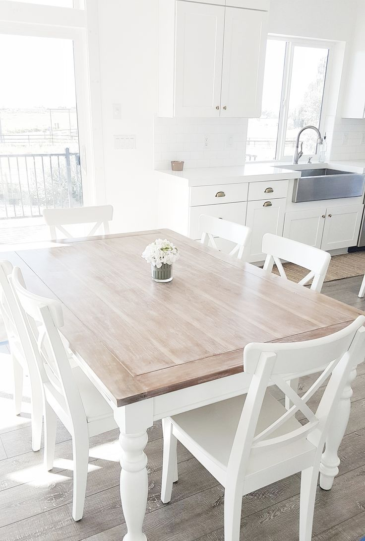 white chairs white kitchen chairs whitelanedecor whitelanedecor Dining room table liming wax table top stainless steel farm