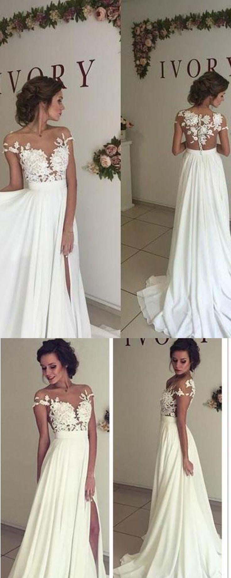 romantic wedding dresses lace flowy wedding dress Chiffon Wedding Dresses Lace Weddin