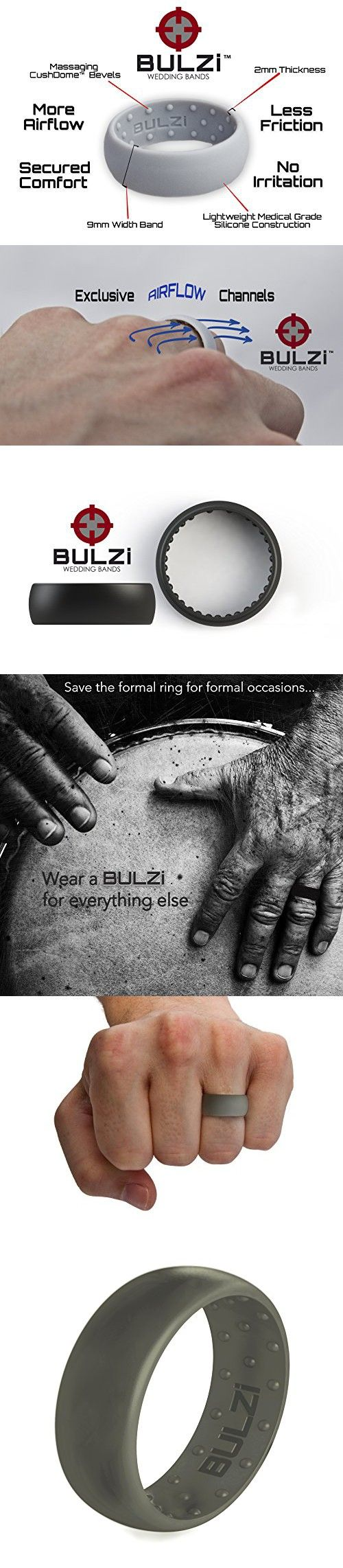 men wedding rings flexible wedding ring BULZi Massaging Comfort Fit Silicone Wedding Ring Most Comfortable Men s Wedding Band Round Edges with Flexible Work Safety Domed Design Sage 10