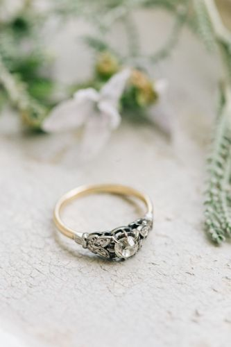 modern wedding rings modern wedding rings Fashionable English Garden Wedding at Barnsley House Bohemian Wedding RingsModern