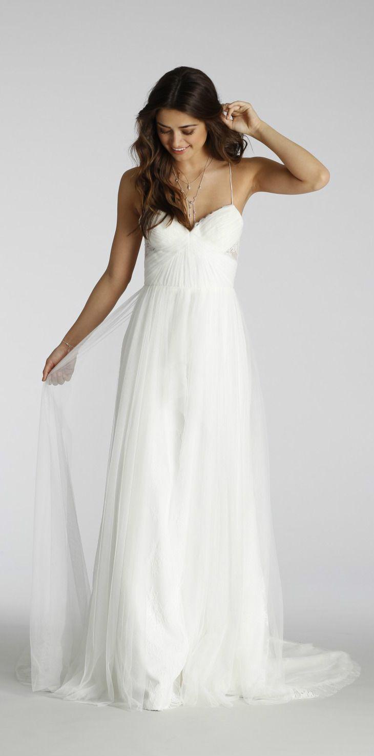 beach wedding spaghetti strap wedding dress Spaghetti strap wedding dress with criss cross straps Ti Adora Wedding Dresses Style